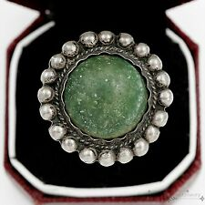 Antique Vintage Sterling Silver Native Navajo Carico Lake Turquoise Ring Sz 8
