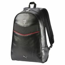 NEW AUTHENTIC PUMA SCUDERIA FERRARI LS BLACK FAUX LEATHER BACKPACK LAPTOP BAG