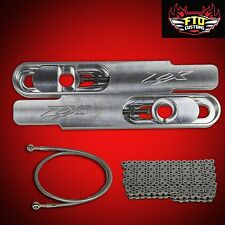 "FTD Customs ZX14 Swingarm Extensions 12"" Long, Chain, & Brake Line"