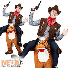 Carry Me Ride On Horse Mens Fancy Dress Animal Wild Western Cowboy Adult Costume