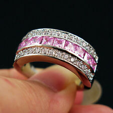 Fashion Jewelry Pink/ White Engagement Ring 10KT White Gold Filled  Size 9