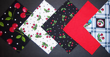"50*Mary Engelbreit **Cherries 4"" Cotton Quilt Quilting Squares*  USA * Charms"