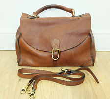 JOHN LEWIS Weekend Tan Brown Thick Leather Large Satchel/Messenger Hand Held Bag