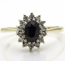 Dark Sapphire & Real Diamond Ring 9ct Gold Size N Clearance Bargain