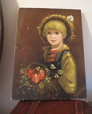 ANTIQUE OIL PAINTING ON CANVAS  PORTRAIT OF BOY WITH THE FLOWERS/SIGNED BY ARTIS
