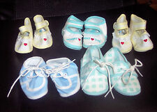 Vintage Used Lot of Old Baby Newborn Shoes Crib Shoes 5 Pairs Dolls Size 0