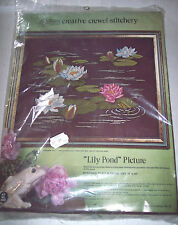 NIP Vintage Paragon Crewel stitchery Embroidery Kit Lily Pond frog pad16x20 #320