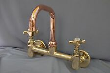 BRASS & COPPER WALL MOUNTED KITCHEN MIXER TAPS RECLAIMED & FULLY REFURBISHED