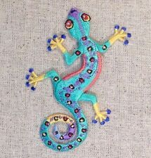 Iron On Embroidered Applique Patch Large Multicolor Lizard Gecko Facing Left