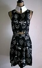 JAWBREAKER Black Vertex Skull Dress Medium Punk Goth Pinup Rockabilly NEW