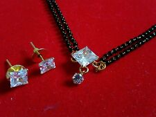gold plated cz single square  diamond mangalsutra pendant with earrings