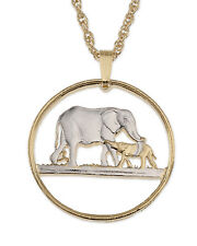 """Elephant Pendant & Necklace, Malawi Coin hand Cut, 1-1/8"""" in Diameter ( # 232 )"""