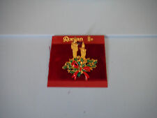 NEW ROMAN BROOCH PIN CANDLE - GOLD TONE