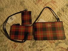 COACH RED PLAID WRISTLET,LANYARD, COIN KEYRING ZIPPER POUCH 54461,55990,55992 NW