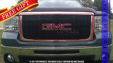 GTG, 2007 - 2010 GMC SIERRA 2500 HD / 3500 HD 1pc BLACK UPPER BILLET GRILLE KIT