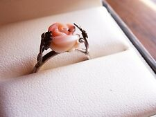 SILVER Vintage Angelskin Coral Rose Ring Angel Skin
