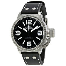 TW Steel Canteen 45mm Black Dial Crystal-set Bezel Black Leather Ladies Watch