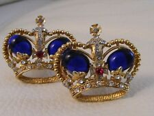 TRIFARI Gold Sapphire JELLY BELLY Crystal Fleur De Lis Open CROWN Clip Earrings