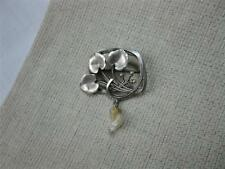 Art Nouveau Sterling Silver Pearl Lilly Pad Brooch c1910 Rare Antique Jewelry