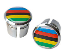 World Champion Bicycle Handlebar Chrome Plastic Bar End Plugs Caps L'Eroica