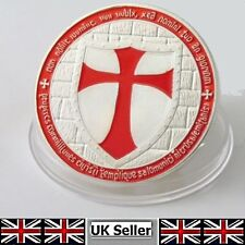 KNIGHTS TEMPLAR RED Layered 1oz CROSS Coin .999 FINE SILVER Plated Masonic