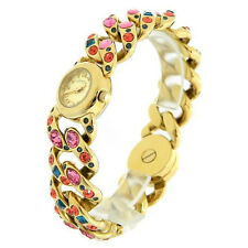 MARC JACOBS KATIE GOLD TONE BEJEWELED CRYSTAL CHAIN LINK+TURN LOCK WATCH MBM3144