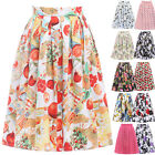HOT Ladies Retro High Waist Pleated Floral Cotton Sheer Short Mini Skirts Dress