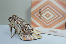 sz 9.5 / / 40 Valentino Rockstud Native T-Strap Pointed toe Slingback Pump Shoes