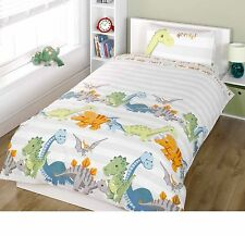 DINOSAURS DUVET QUILT COVER SINGLE BED DINO STRIPE KIDS BOYS BEDDING SET NATURAL