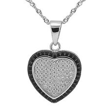 "Sterling Silver Heart Pendant, Black and Clear CZ Heart, 17.5"" Extension Chain"