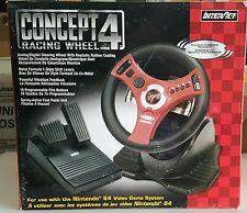 NEW  INTERACT  CONCEPT 4 RACING WHEEL FOR NINTENDO 64 WITH SHIFTER AND PEDALS