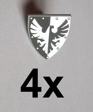 Lego 4x Knight's Shield Falcon black silver Shield Triangular Falcon New Castle