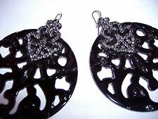 NEW ZARA LARGE BLACK ACRYLIC WITH TINY CRYSTAL DIAMONDS EARRINGS