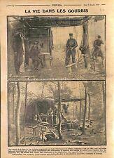 Gourbis Poste Téléphonique Poilus Cuisine Campagne Bataille de Marne  WWI 1914