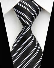 PRICED 2 CLEAR! Mens Classic Twin Double Stripe Silk Necktie Tie Black White