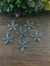 Wholesale 8pcs Tibetan silver starfish Charm Pendant beaded Jewelry Findings