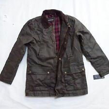 NEW GUESS WAX COTTON LONG HUNTING UTILITY OLIVE GREEN JACKET COAT S SMALL