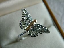 Clogau Silver & 9ct Welsh Gold Butterfly Pavé Ring RRP £169.00 size P