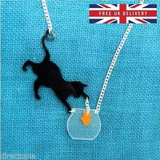 Cat Catching Goldfish in Fish Bowl Acrylic Necklace Kitsch Unique UK DELIVERY