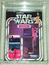 Vintage Star Wars 1979 AFA 80/80/85 POWER DROID ANH 21 Back Card MOC CLEAR BUBBL