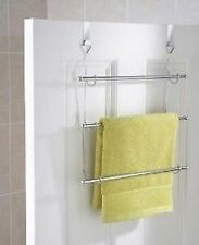3 Tier Over Door Towel Rail Rack Hanger Holder Bathroom Storage Organizer Chrome