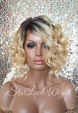 100% Human Hair Blend Blonde Lace Front Wig Ombre Mix Wavy Bob Heat Safe Beyonce