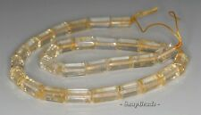 14X8MM  CITRINE QUARTZ GEMSTONE FACETED ROUND TUBE LOOSE BEADS 7""