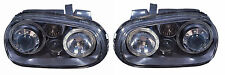 VW Golf Mk4 Twin Angel Eye Halo Black Projector Headlights Lamps Incl. Fog