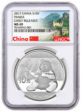 2017 China 10Y 30g Silver Panda NGC MS69 ER Great Wall Label PRESALE SKU43851