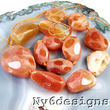 "18x13x12mm-33x24x18mm Natural Fire Agate Faceted Nugget Beads 15""(AG721)d"