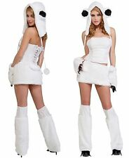 SEXY FURRY POLAR BEAR HALLOWEEN COSTUME WOMEN'S SIZE M/L 8 - 12