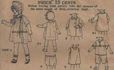 "VINTAGE 20"" ANTIQUE DOLL CLOTHES PATTERN 427"