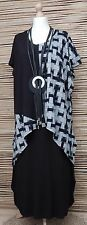 LAGENLOOK OVERSIZE BEAUTIFUL AMAZING ASYMMETRICAL QUIRKY TUNIC*BLACK* L-XL-XXL
