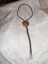"""Vintage 18"""" Bolo with Braided Leather Tie, Striated Mustard-Brown-Ivory Stone"""